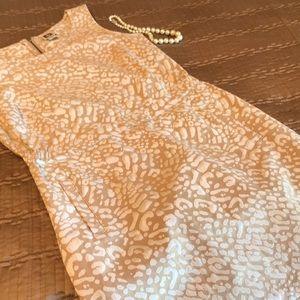 Anne Klein dress, tan and white print, size 2